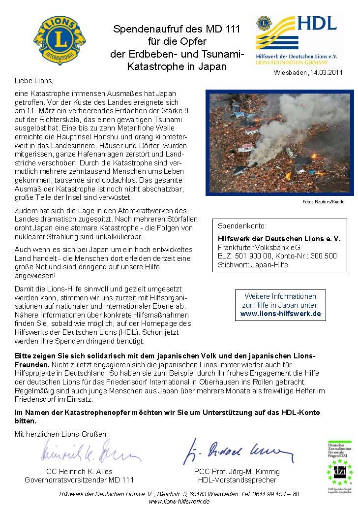 Spendenaufruf für die Opfer der schrecklichen Katastrophe in Japan