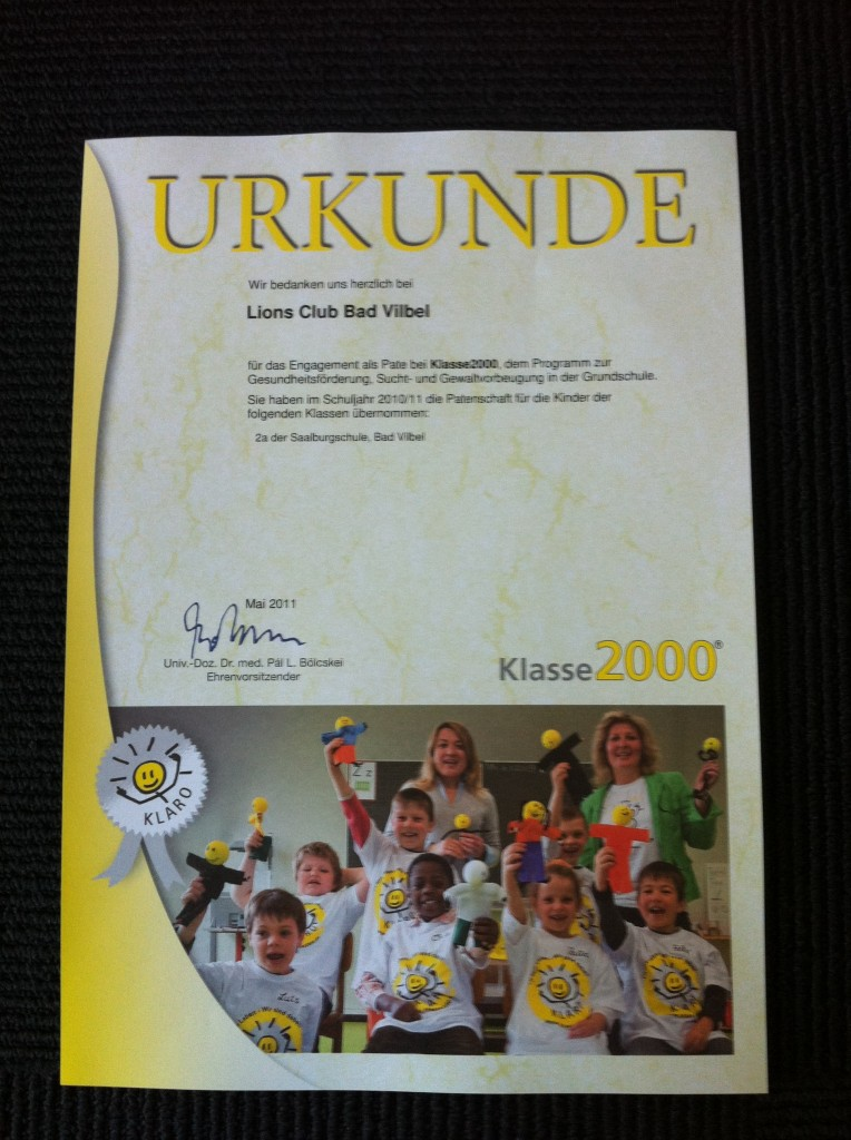"""Jedes Jahr dabei - der Lions Club Bad Vilbel unterstützt die """"Klasse 2000"""""""